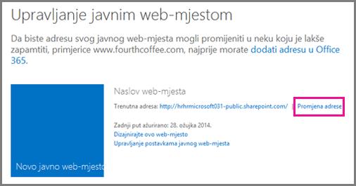 Dijaloški okvir Upravljanje javnim web-mjestom u kojem se prikazuje mogućnost Promijeni mjesto adrese