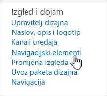 Elementi navigacije u izborniku Postavke web-mjesta
