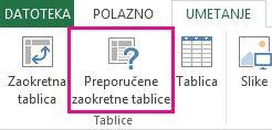 Preporučene zaokretne tablice na kartici Umetanje u programu Excel