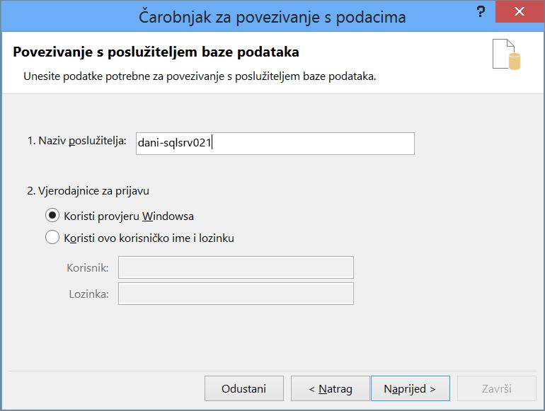 Povezivanje s poslužiteljem baze podataka