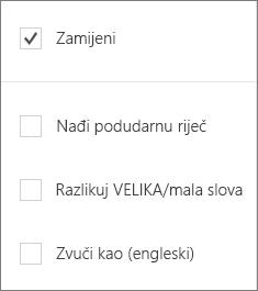 Prikazuje mogućnosti traženja za Word Mobile: Zamijeni VELIKA/mala slova, Match Word Zvuči kao.