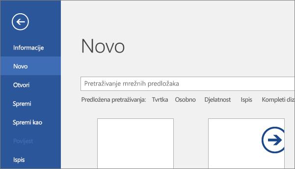 Pokazuje stavku Datoteka > Novi zaslon u programu Word 2016