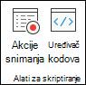 Grupa Alati za scription koja sadrži mogućnosti za snimanje akcija ili prikaz uređivača kodova.