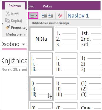 Snimka zaslona numeriranja stranice u programu OneNote 2016.