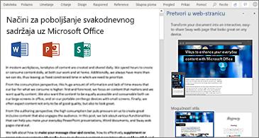 Dokument na lijevoj strani i okno za pretvaranje u web-stranicu na desnoj