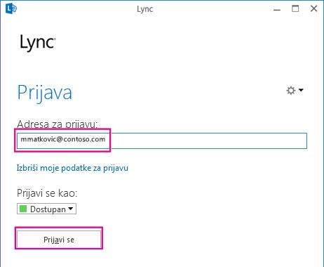 Odjeljak prozora za prijavu u programu Lync s označenom stavkom za brisanje podataka za prijavu