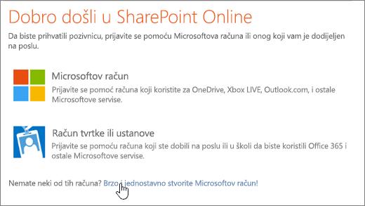 Snimka koji se prikazuje u sustavu SharePoint Online zaslon za prijavu u, s vezom za stvaranje Microsoftova računa odabran.