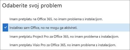 Prikazuje mogućnost aktivacije sustava Office u pomoćniku za podršku i oporavak