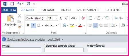 Na ploči s informacijama o dokumentu prikazuju se tekstni okviri u obrascu za prikupljanje metapodataka od korisnika.