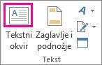 Gumb Tekstni okvir u grupi Tekst