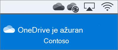 Snimka zaslona na kojoj je prikazana traka izbornika servisa OneDrive na računalu Mac nakon dovršetka korištenja čarobnjaka Dobro došli u OneDrive