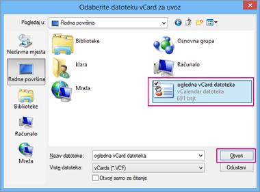 Odaberite vCard datoteku koju želite uvesti u .csv.