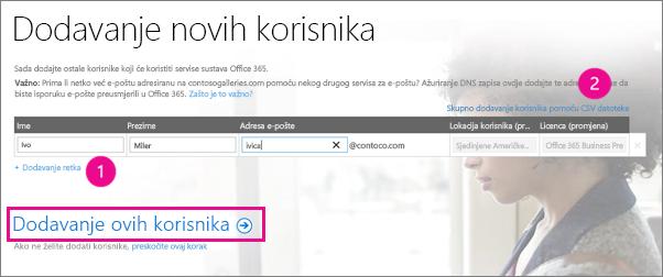 Dodajte korisnike u klijent za Office 365