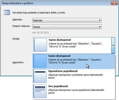 Popis detalja u dijaloškom okviru Slanje kalendara e-poštom