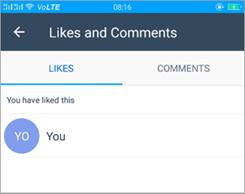 Snimka zaslona stranice like i komentari u programu Kaizala