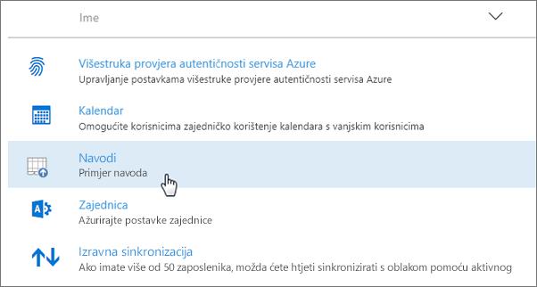 Dodatak implementiran putem centra za administratore sustava Office 365