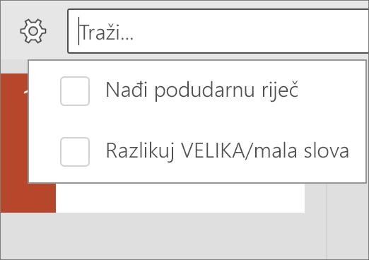 Prikazuje mogućnosti VELIKA/mala slova i Match Word u programu PowerPoint za Android.