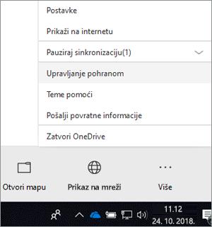 Snimka zaslona nove OneDrive za tvrtke izbornika klijenta za sinkronizaciju s Upravljanje prostorom za pohranom odabrana.