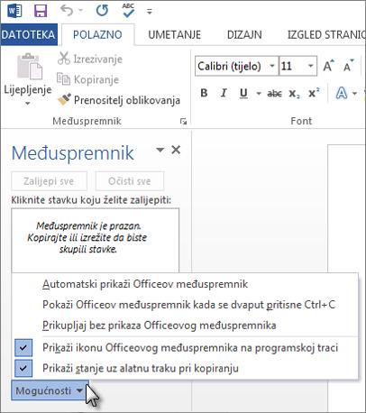 Što sve možete učiniti pomoću okna zadatka međuspremnika sustava Office