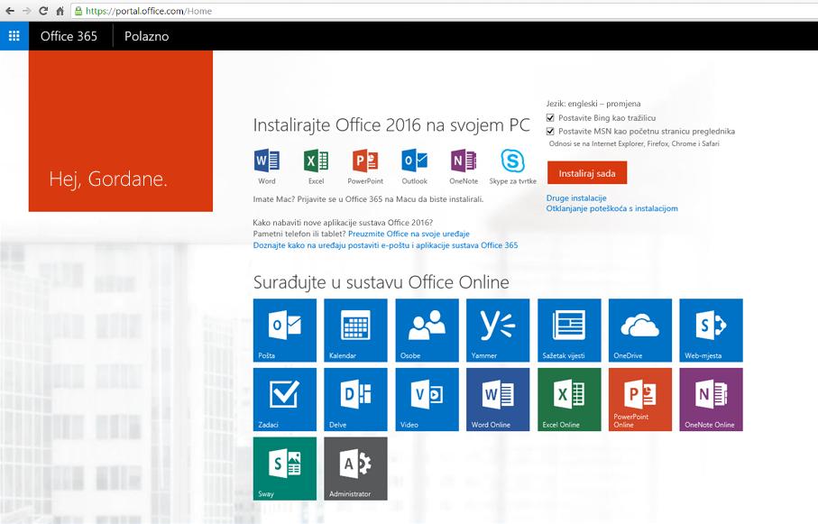 Snimka zaslona s uputama za instalaciju sustava Office 365 na PC-ju.