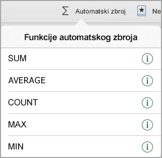 Izbornik automatski zbroj funkcije