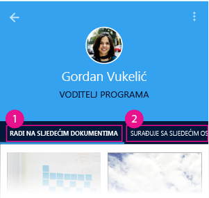 Stranica osobe u servisu Delve za Android