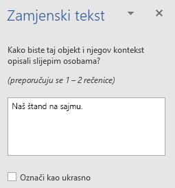Okno Word Win32 zamjenski tekst za oblike