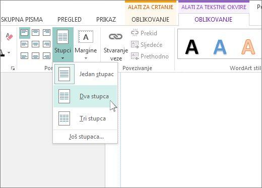 Snimka zaslona s postavkom Alati za tekstne okvire – Stupci u programu Publisher.