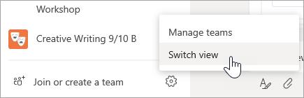 Da biste promijenili prikaz, odaberite dodatne mogućnosti pri dnu popisa timova.