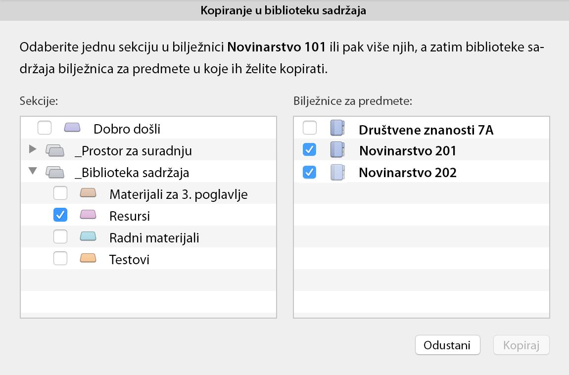 Kopiranje u dijaloški okvir Biblioteka sadržaja