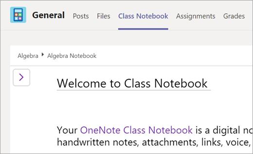 Odaberite karticu bilježnica za predmete u timu klase