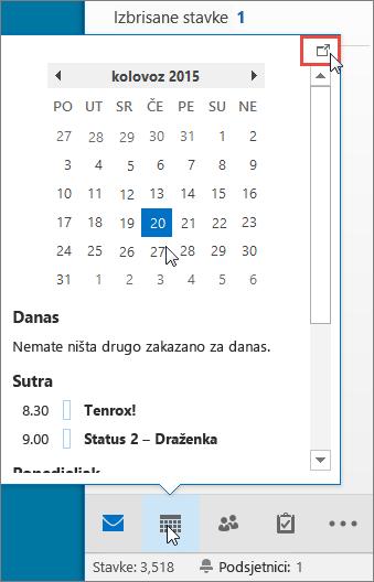 Uvid u kalendar s istaknutom ikonom za ubacivanje sidra.