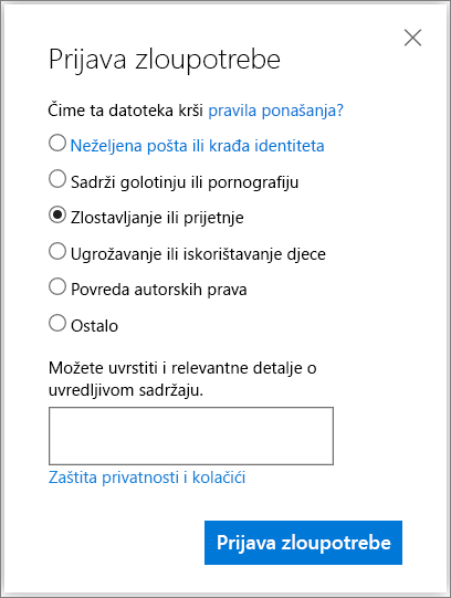 Snimka zaslona dijaloškog okvira izvješća zloupotreba okvira na servisu OneDrive