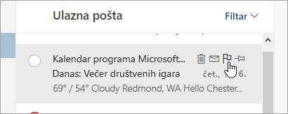 Snimka zaslona na kojoj se prikazuje mogućnost za označavanje zastavicom na popisu poruka