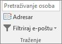 U programu Outlook, na kartici Polazno u grupi traženje odaberite adresar.