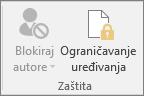 Na kartici Pregled prikazuje se ikona Ograniči uređivanje