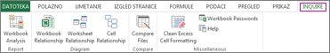 Kartica Ispitivanje u programu Excel