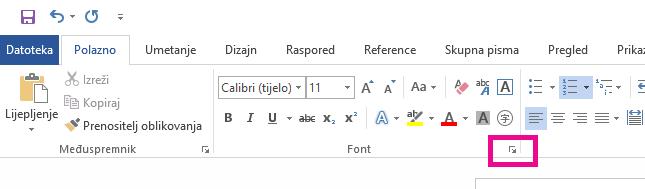 Kliknite strelicu da biste otvorili dijaloški okvir Mogućnosti fontova.
