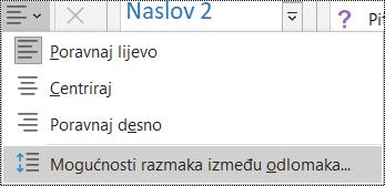 Snimka zaslona s mogućnošću Prored odlomaka na izborniku Polazno.