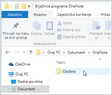 Snimka zaslona mape Dokumenti sustava Windows s vidljivom mapom bilježnica programa OneNote.
