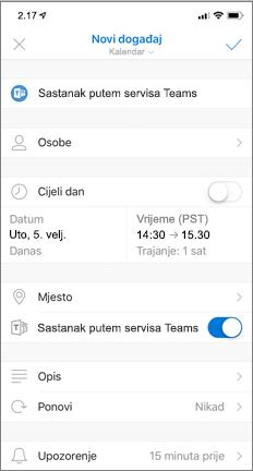 Novi događaj s uključenim preklopnim gumbom Sastanak putem servisa Teams