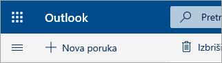 Snimka zaslona gornjeg lijevog kuta poštanskog sandučića beta-verzije servisa Outlook.com