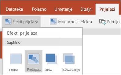 Prikazuje prijelaze > efekte prijelaza > Morph u programu PowerPoint za Android.