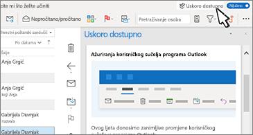 Pretinac ulazne pošte s oknom s nadolazećim značajkama s desne strane zaslona