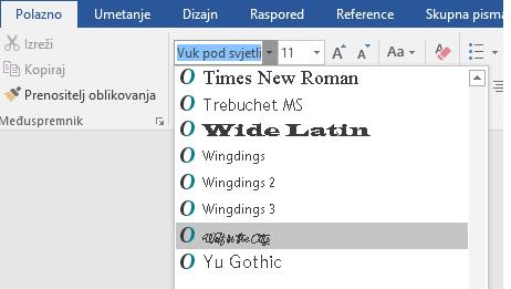 Novi se font sada prikazuje na popisu fontova u programu Word.