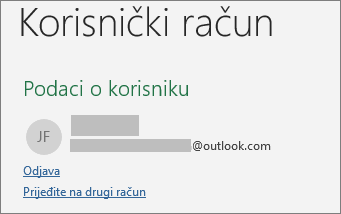 Prikazuje vezu odjave iz prikaza Backstage u sustavu Office za Windows