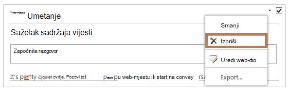 Brisanje web-dijela