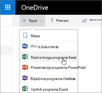 Novi izbornik servisa OneDrive, naredba radna knjiga programa Excel