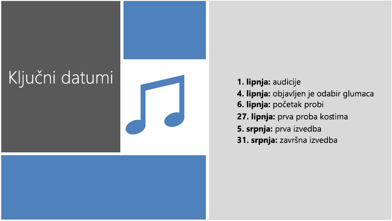 Ogledni slajd koji pokazuje tekstnu vremensku crtu kojoj je PowerPoint Designer dodao ilustraciju i dizajnerske elemente