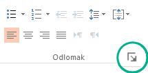 U grupi odlomak kliknite gumb pokretač u donjem desnom kutu da biste otvorili dijaloški okvir odlomak